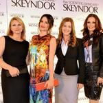 Zastopnica kozmetike Skeyndor v Sloveniji Irena Bačak, Severina, ki je obraz kozmetike Skeyndor, in pevka Natalija Verboten. (foto: promocija, Lea)