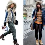Dobitna kombinacija: športne hlače, džins, umetno krzno in torbica z bleščicami. (foto: Anže Frantar)