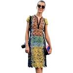 Prosojnost, vzorci, zadrga, barve – obleka, ki je popoln seštevek letošnjih trendov. (foto: All-About-Fashion)
