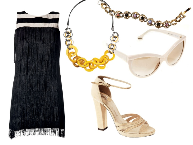 Top kombinacija: Obleka, 2nd Chance (135 €), verižica, Max Mara (35 €), zapestnica, 2nd Chance (25 €), sončna očala, Tom ...