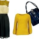 Vedno v modi: Obleka, Almira Sadar, recycled by Karmen Sedenjak (230€), Pulover, 2nd Chance (55€) in torbica, Marjeta Grošelj (100€)