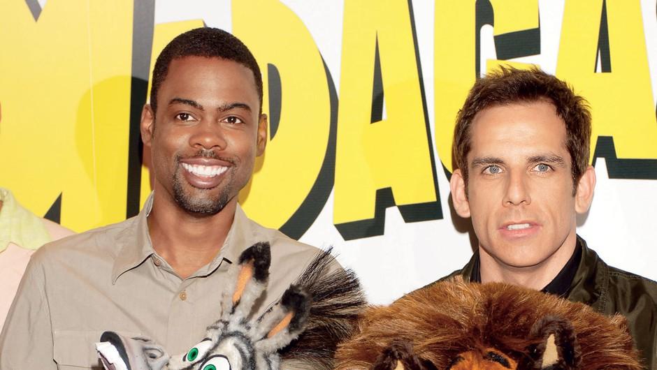 Najbolj kultna glasova Madagaskarja Ben Stiller in Chris Rock v družbi Alexa in Martyja. (foto: Getty images, profimedia)
