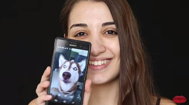 Strašljivo: Z ličili se je spremenila v svojega haskija (foto: Youtube)