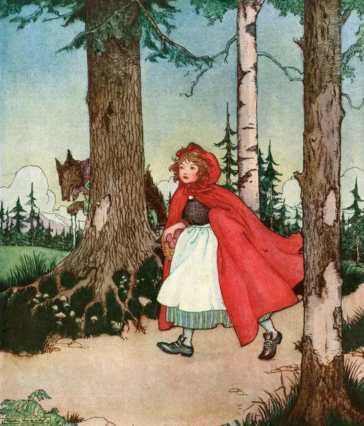 OVEN - RDEČA KAPICA: Ko je veselo poskakovala po gozdni poti, je pred njo nenadoma skočil velik volk. Prav nič …