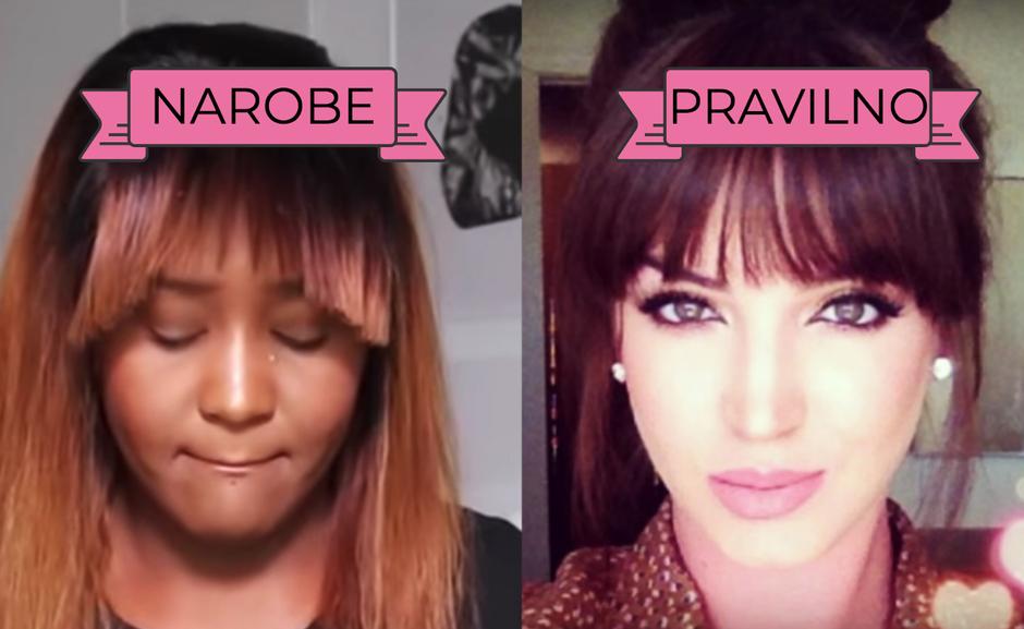 Stilisti svetujejo: Kako PRAVILNO zravnati frufru, da ne izgleda ... TAKO?!? (foto: Printscreen Youtube)