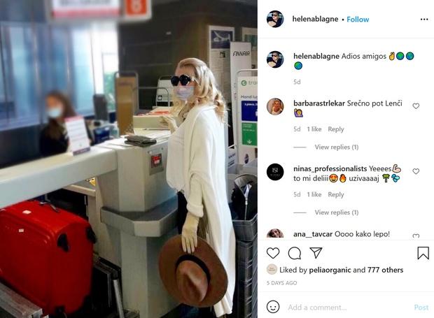 Pred dnevi se je takole z letališča poslovila od svojih Instagram sledilcev ...